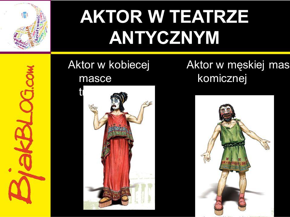 AKTOR W TEATRZE ANTYCZNYM Aktor w kobiecej masce tragicznej Aktor w męskiej masce komicznej