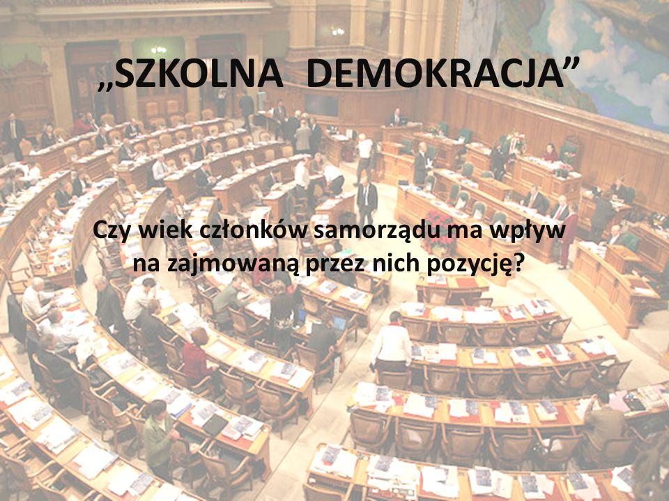 """"""" Szkolna demokracja ,, SZKOLNA DEMOKRACJA Czy wiek członków samorządu ma wpływ na zajmowaną przez nich pozycję"""