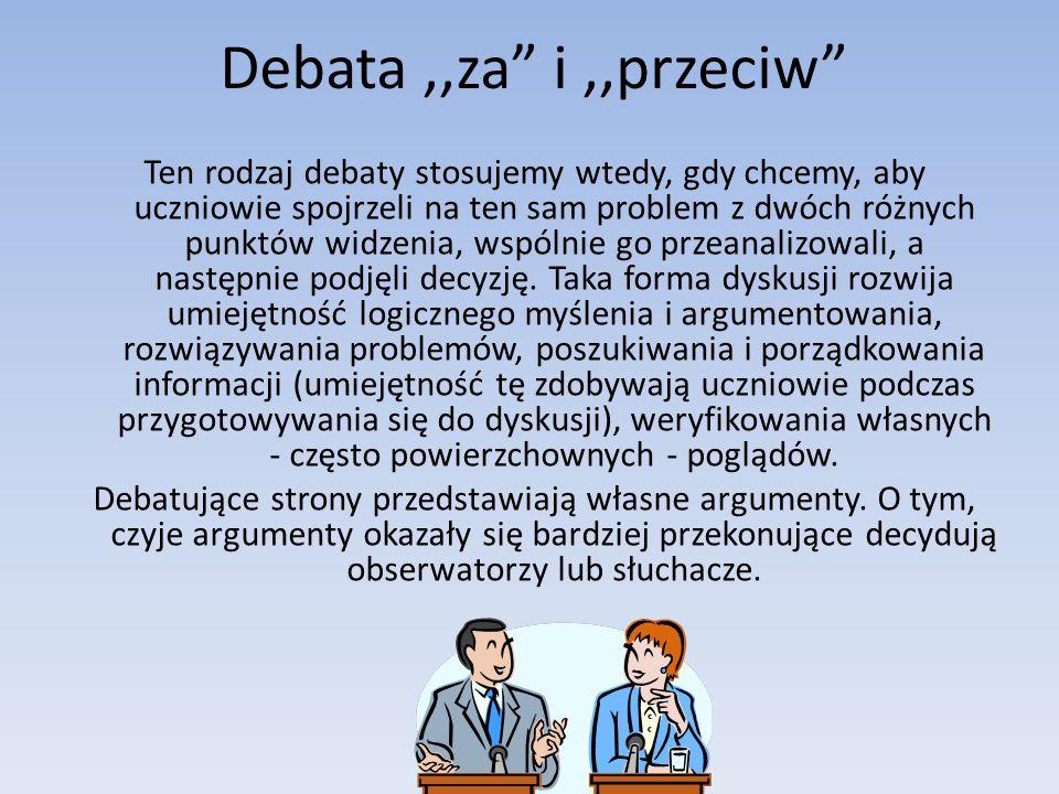 Debata,,za i,,przeciw Ten rodzaj debaty stosujemy wtedy, gdy chcemy, aby uczniowie spojrzeli na ten sam problem z dwóch różnych punktów widzenia, wspólnie go przeanalizowali, a następnie podjęli decyzję.