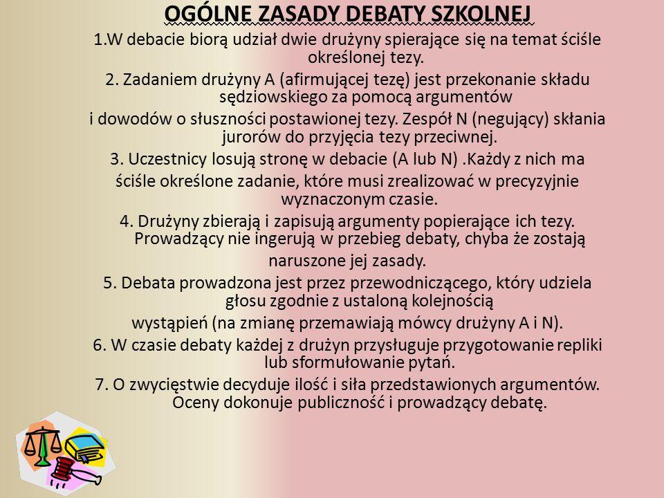 OGÓLNE ZASADY DEBATY SZKOLNEJ 1.W debacie biorą udział dwie drużyny spierające się na temat ściśle określonej tezy.