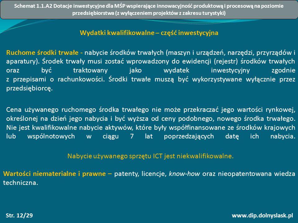 www.dip.dolnyslask.plStr. 12/29 Wydatki kwalifikowalne – część inwestycyjna Ruchome środki trwałe - nabycie środków trwałych (maszyn i urządzeń, narzę