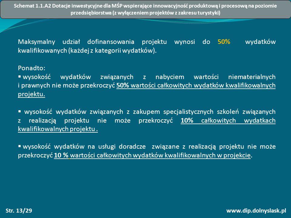 www.dip.dolnyslask.plStr. 13/29 Maksymalny udział dofinansowania projektu wynosi do 50% wydatków kwalifikowanych (każdej z kategorii wydatków). Ponadt