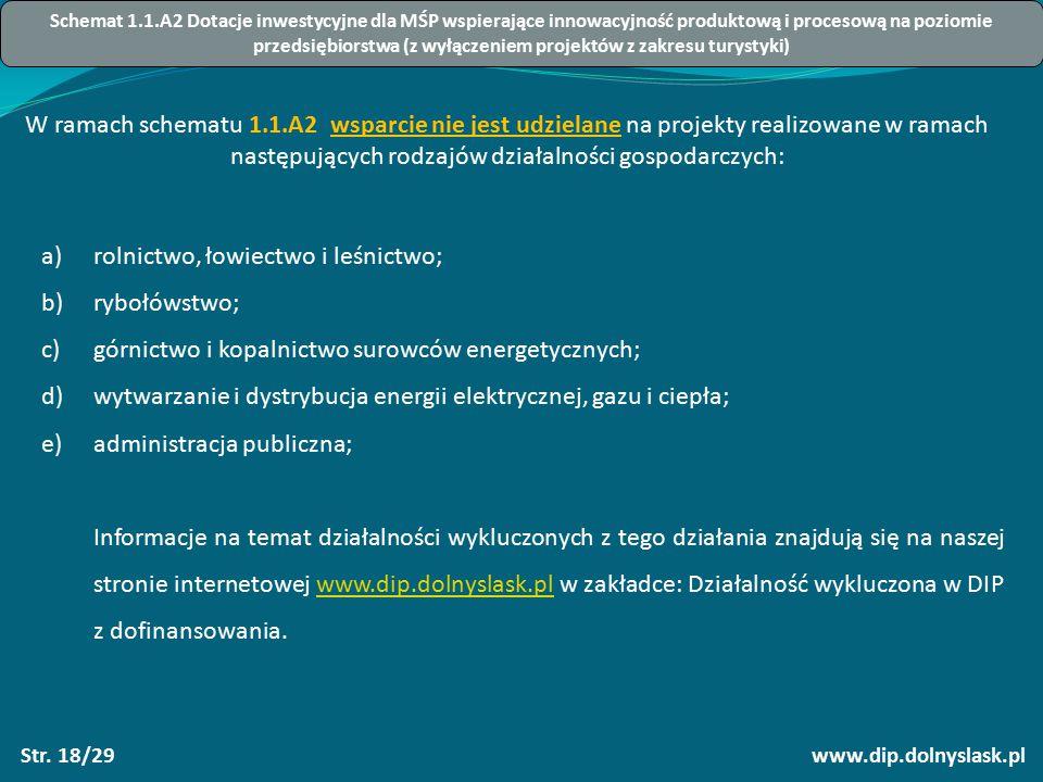 www.dip.dolnyslask.plStr. 18/29 W ramach schematu 1.1.A2 wsparcie nie jest udzielane na projekty realizowane w ramach następujących rodzajów działalno