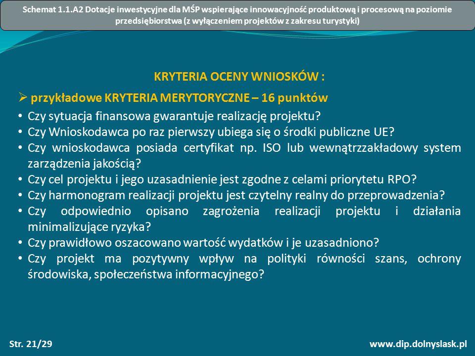 www.dip.dolnyslask.plStr. 21/29 KRYTERIA OCENY WNIOSKÓW :  przykładowe KRYTERIA MERYTORYCZNE – 16 punktów Czy sytuacja finansowa gwarantuje realizacj