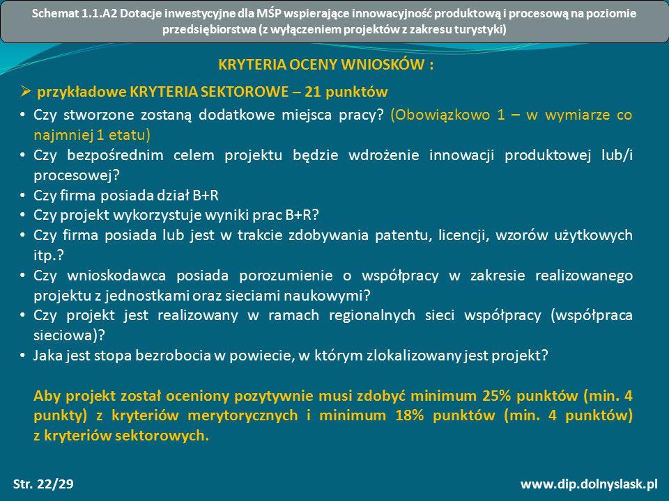 www.dip.dolnyslask.plStr. 22/29 KRYTERIA OCENY WNIOSKÓW :  przykładowe KRYTERIA SEKTOROWE – 21 punktów Czy stworzone zostaną dodatkowe miejsca pracy?