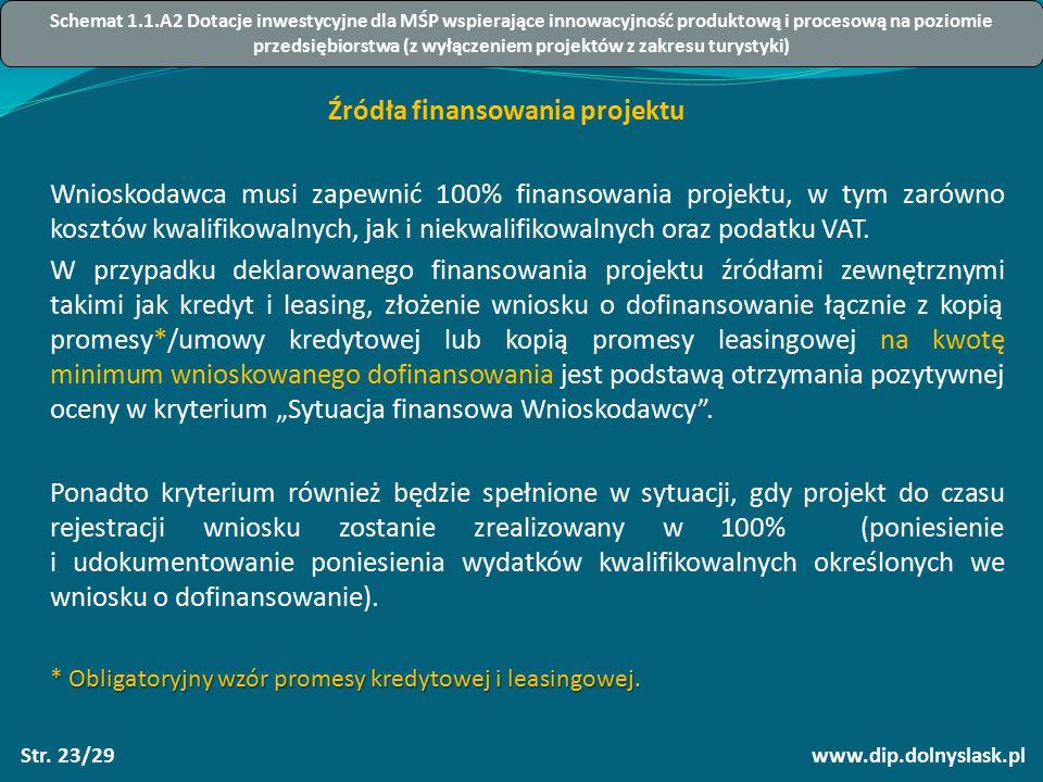 www.dip.dolnyslask.plStr. 23/29 Źródła finansowania projektu Wnioskodawca musi zapewnić 100% finansowania projektu, w tym zarówno kosztów kwalifikowal