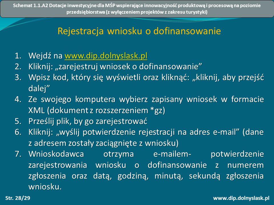 """www.dip.dolnyslask.plStr. 28/29 Rejestracja wniosku o dofinansowanie 1.Wejdź na www.dip.dolnyslask.pl www.dip.dolnyslask.pl 2.Kliknij: """"zarejestruj wn"""