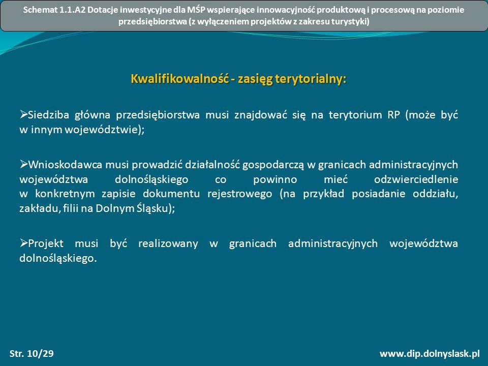 www.dip.dolnyslask.plStr. 10/29 Kwalifikowalność - zasięg terytorialny:  Siedziba główna przedsiębiorstwa musi znajdować się na terytorium RP (może b