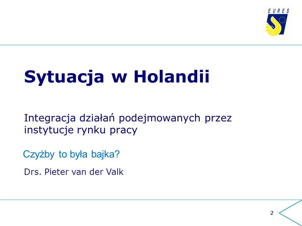 222 Sytuacja w Holandii Integracja działań podejmowanych przez instytucje rynku pracy Drs. Pieter van der Valk Czyżby to była bajka?