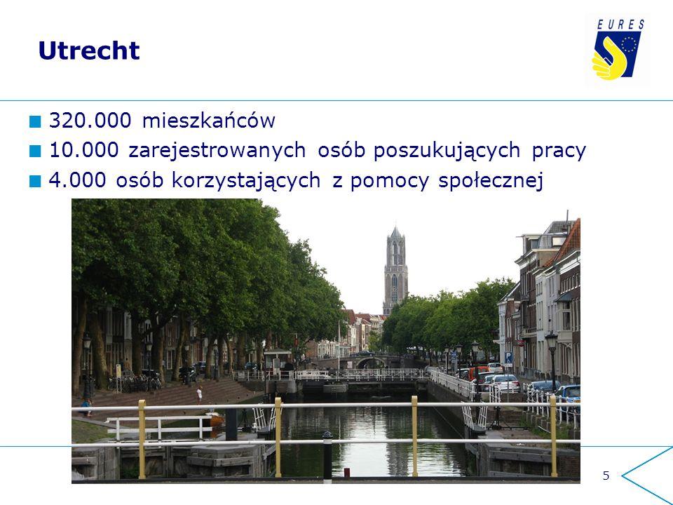 Utrecht 320.000 mieszkańców 10.000 zarejestrowanych osób poszukujących pracy 4.000 osób korzystających z pomocy społecznej 5
