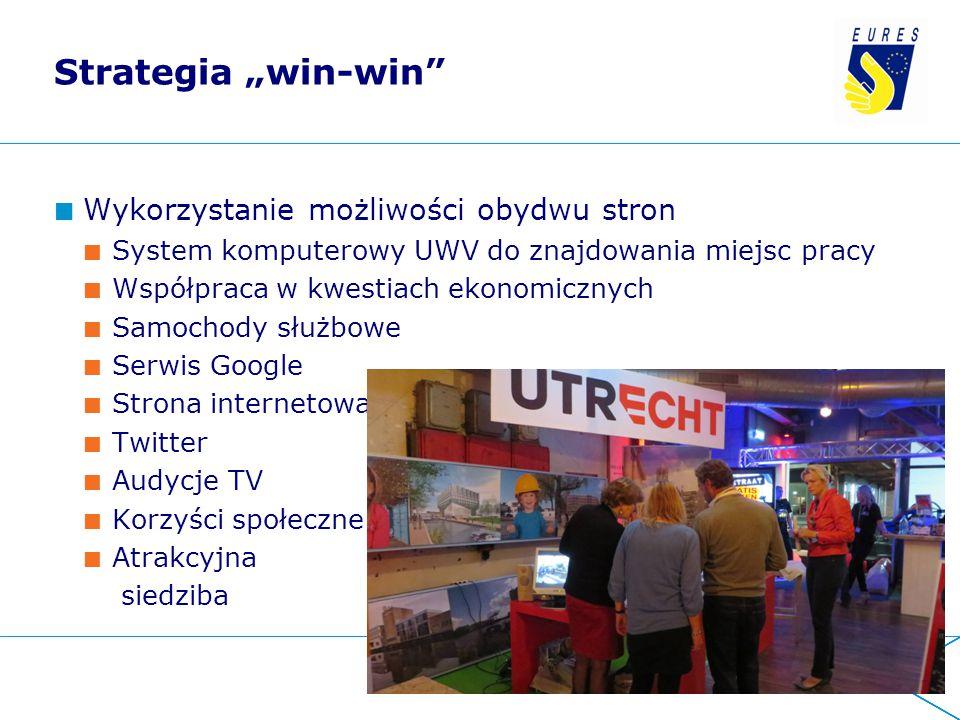 """Strategia """"win-win"""" Wykorzystanie możliwości obydwu stron System komputerowy UWV do znajdowania miejsc pracy Współpraca w kwestiach ekonomicznych Samo"""