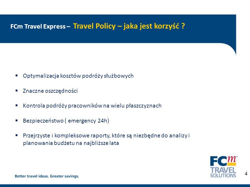 FCm Travel Express – Travel Policy - Świadome planowanie podróży  Ustalenie wytycznych planowania podróży  Usystematyzowanie procesów zamawiania i rozliczania podróży  Doradztwo w ustaleniu lokalnych zasad polityki podróży  Audyt stosowania założeń w obszarze podróży służbowych – globalnie, lokalnie i personalnie  Monitorowanie efektów wprowadzonych zmian  Budowa rozwiązań i wartości 5