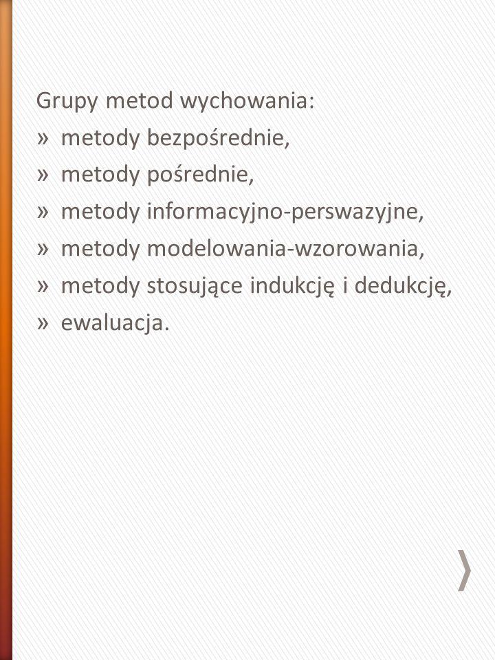 Grupy metod wychowania: » metody bezpośrednie, » metody pośrednie, » metody informacyjno-perswazyjne, » metody modelowania-wzorowania, » metody stosujące indukcję i dedukcję, » ewaluacja.