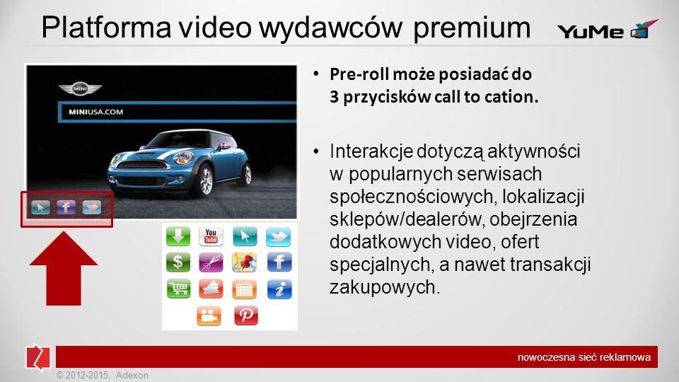 © 2012-2015, Adexon nowoczesna sieć reklamowa Platforma video wydawców premium Pre-roll może posiadać do 3 przycisków call to cation.