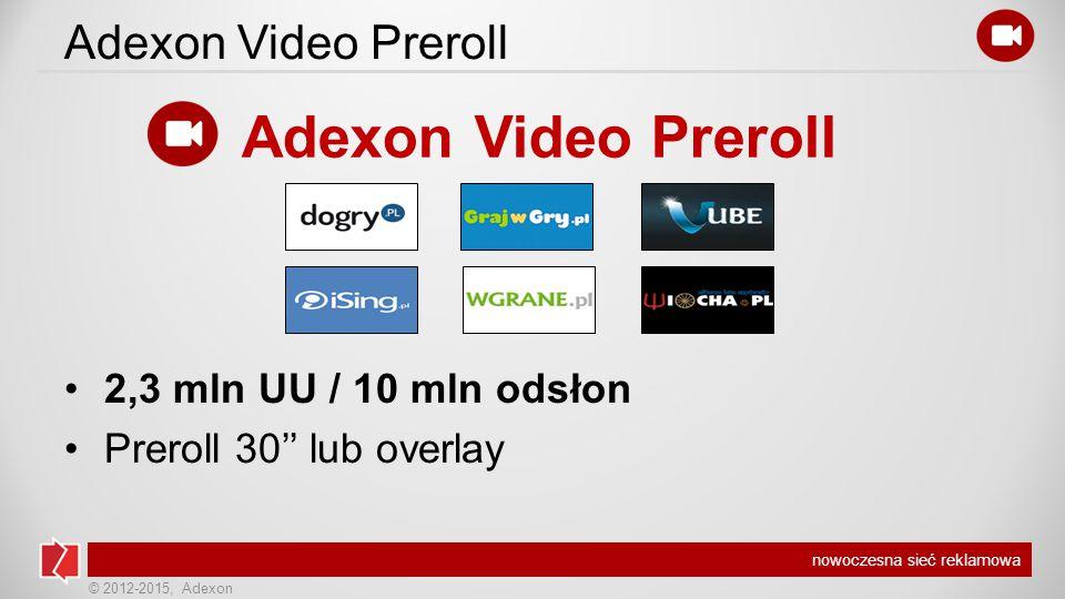 © 2012-2015, Adexon nowoczesna sieć reklamowa Adexon Video Preroll 2,3 mln UU / 10 mln odsłon Preroll 30'' lub overlay Adexon Video Preroll