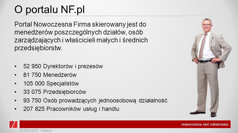 © 2012-2015, Adexon nowoczesna sieć reklamowa O portalu NF.pl Portal Nowoczesna Firma skierowany jest do menedżerów poszczególnych działów, osób zarządzających i właścicieli małych i średnich przedsiębiorstw.