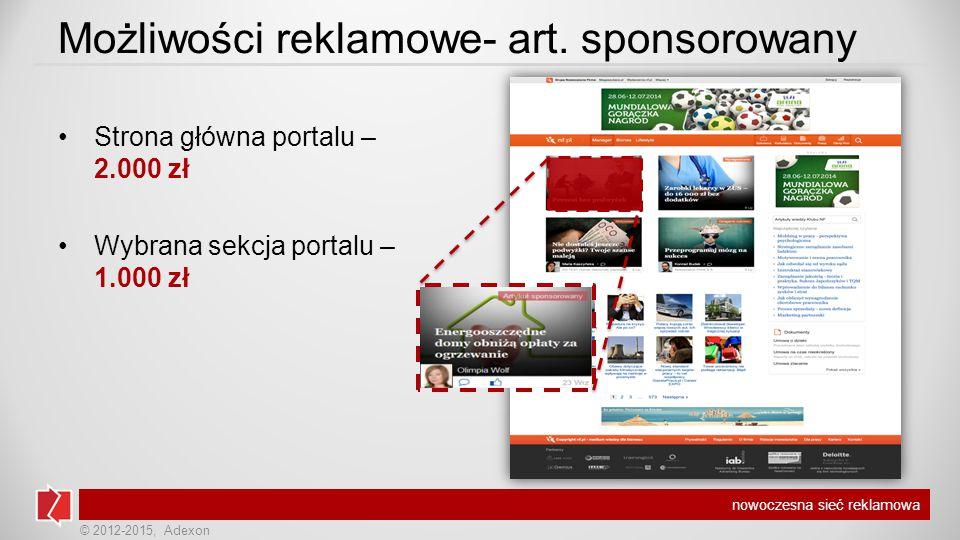 © 2012-2015, Adexon nowoczesna sieć reklamowa Możliwości reklamowe- art.