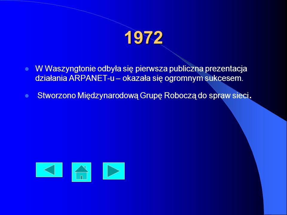 1972 W Waszyngtonie odbyła się pierwsza publiczna prezentacja działania ARPANET-u – okazała się ogromnym sukcesem. Stworzono Międzynarodową Grupę Robo