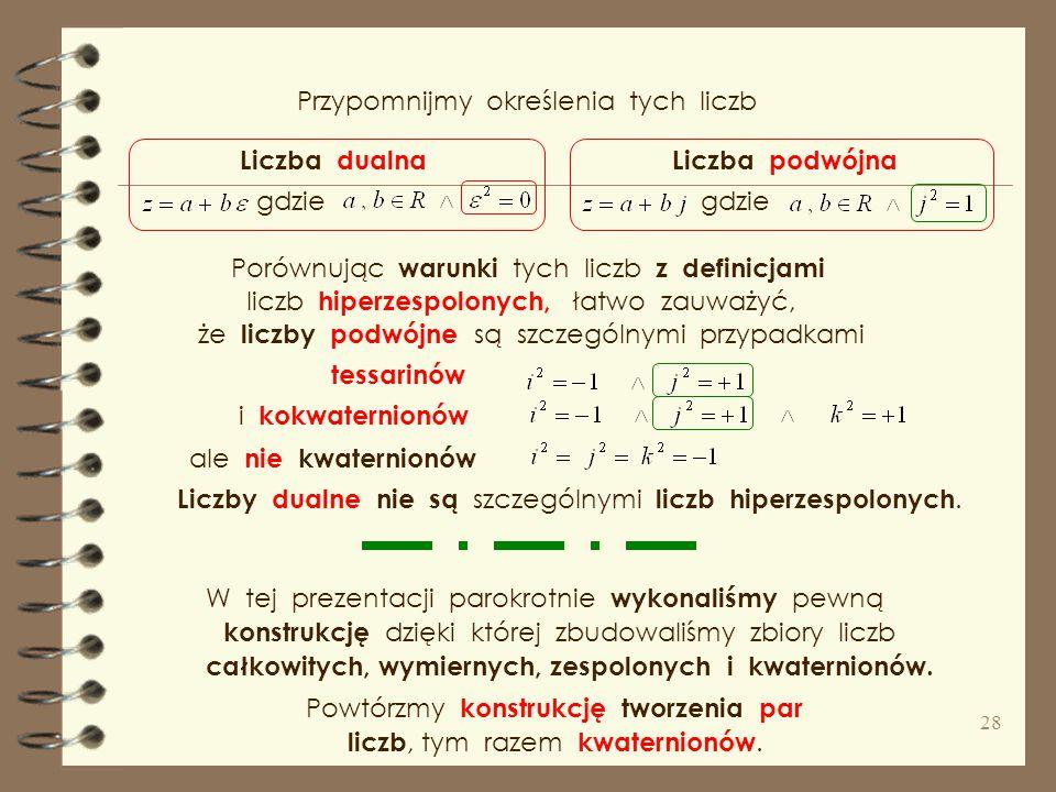 Kokwaterniony ( kwaterniony rozdzielne ) to liczby postaci kokwaterniony kształtują czterowymiarową a z dodawaniem i mnożeniem tworzy strukturę Podobn
