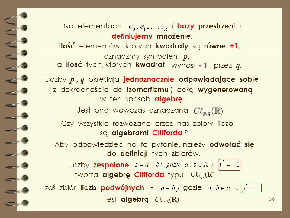 Uogólniając te liczby i definiując na nich działania. Pozwalając na odmienne definicje iloczynów e i ∙ e j przy czym w niezdegenerowanych algebrach Cl