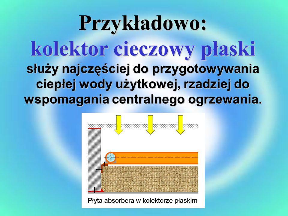 Przykładowo: kolektor cieczowy płaski służy najczęściej do przygotowywania ciepłej wody użytkowej, rzadziej do wspomagania centralnego ogrzewania.
