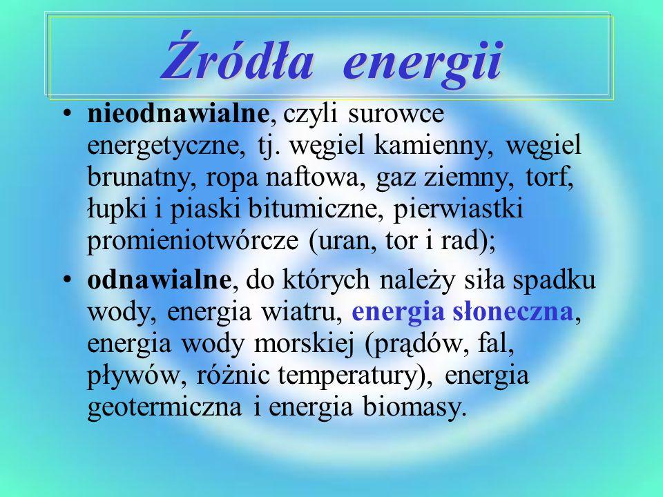 Źródła energii nieodnawialne, czyli surowce energetyczne, tj. węgiel kamienny, węgiel brunatny, ropa naftowa, gaz ziemny, torf, łupki i piaski bitumic