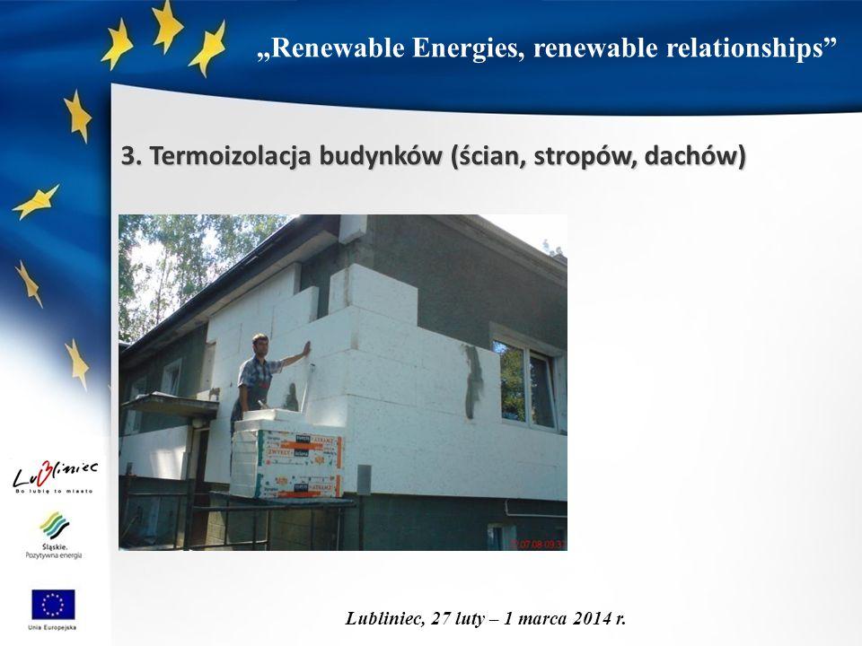 """""""Renewable Energies, renewable relationships"""" Lubliniec, 27 luty – 1 marca 2014 r. 3. Termoizolacja budynków (ścian, stropów, dachów)"""