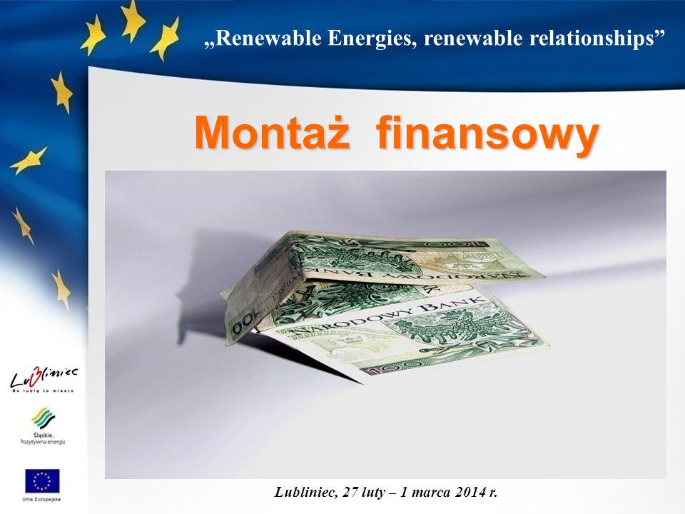 """Renewable Energies, renewable relationships"" Lubliniec, 27 luty – 1 marca 2014 r. Montaż finansowy"