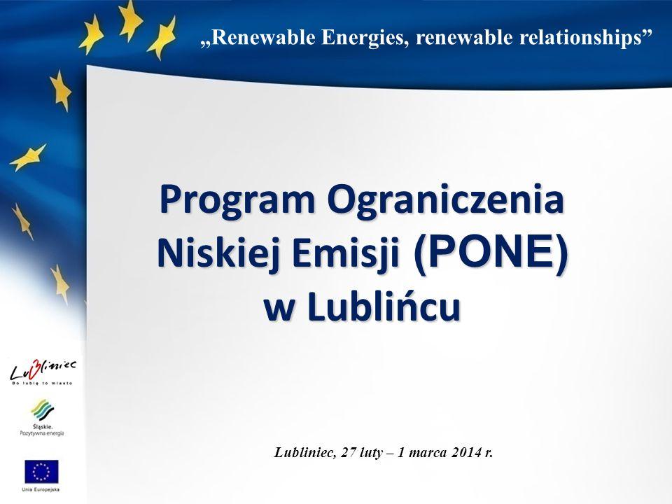 """""""Renewable Energies, renewable relationships Program Ograniczenia Niskiej Emisji (PONE) w Lublińcu Lubliniec, 27 luty – 1 marca 2014 r."""