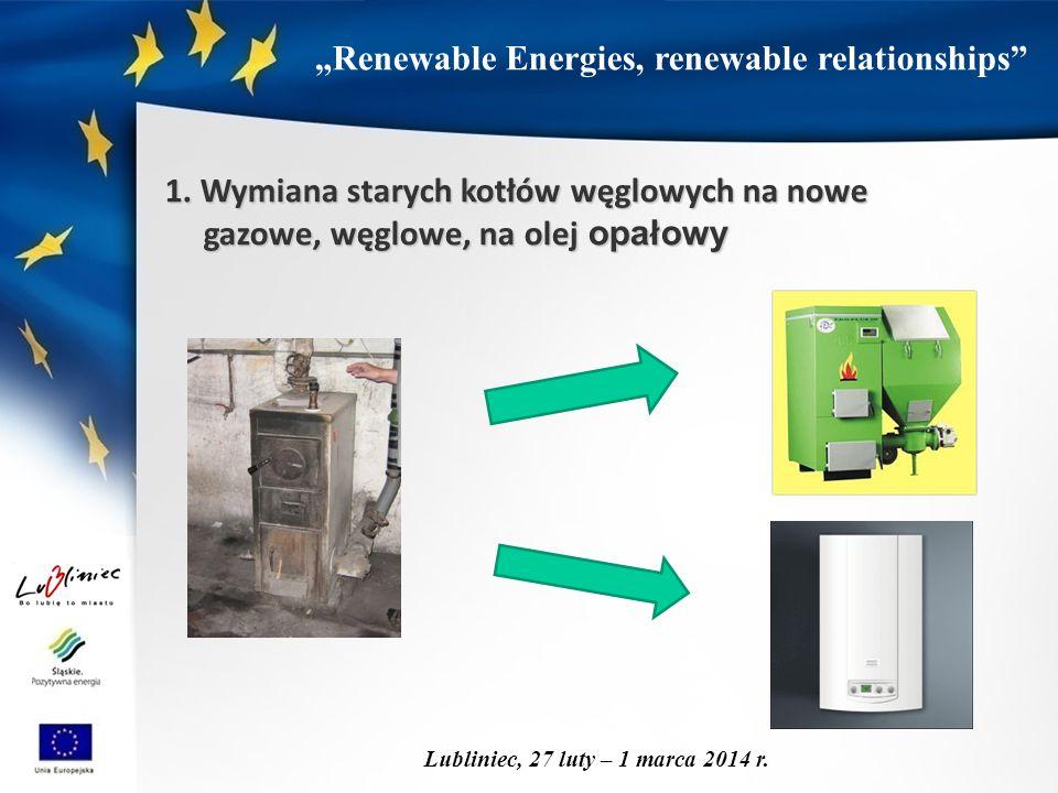 """""""Renewable Energies, renewable relationships"""" Lubliniec, 27 luty – 1 marca 2014 r. 1. Wymiana starych kotłów węglowych na nowe gazowe, węglowe, na ole"""