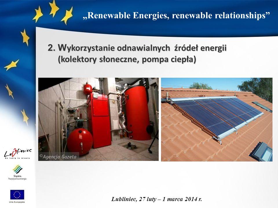 """""""Renewable Energies, renewable relationships"""" Lubliniec, 27 luty – 1 marca 2014 r. 2. W ykorzystanie odnawialnych źródeł energii (kolektory słoneczne,"""
