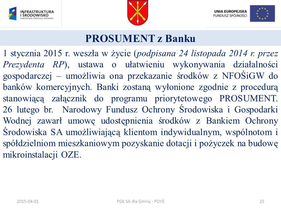 PROSUMENT z Banku 1 stycznia 2015 r. weszła w życie (podpisana 24 listopada 2014 r. przez Prezydenta RP), ustawa o ułatwieniu wykonywania działalności