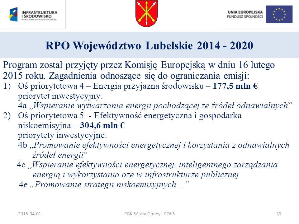RPO Województwo Lubelskie 2014 - 2020 Program został przyjęty przez Komisję Europejską w dniu 16 lutego 2015 roku. Zagadnienia odnoszące się do ograni