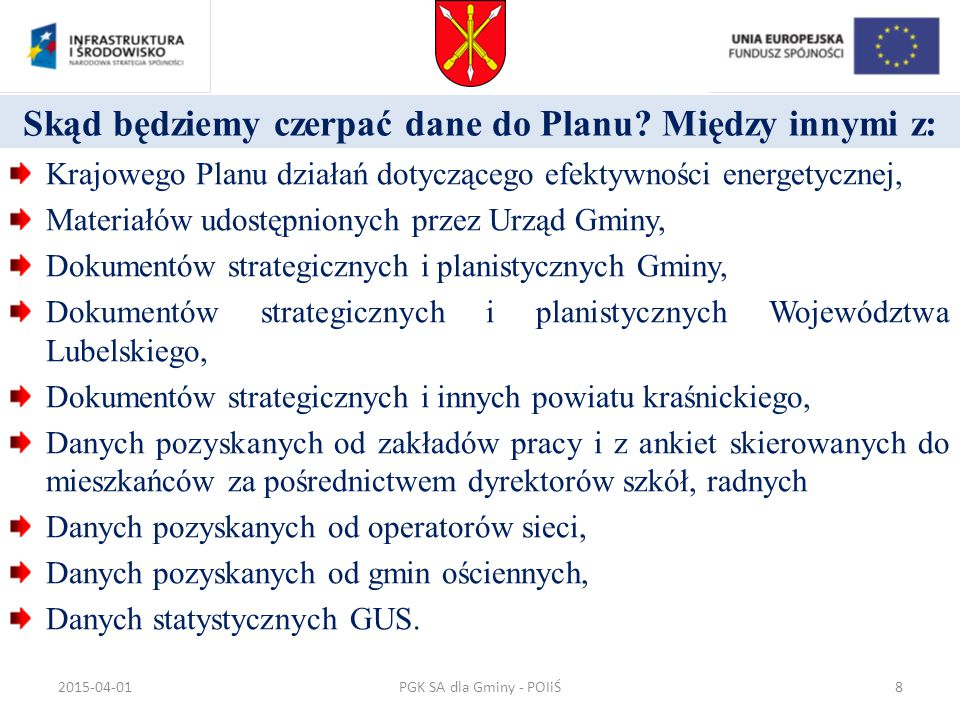 Skąd będziemy czerpać dane do Planu? Między innymi z: Krajowego Planu działań dotyczącego efektywności energetycznej, Materiałów udostępnionych przez