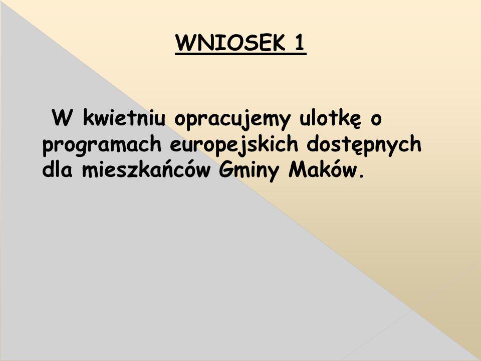 WNIOSEK 1 W kwietniu opracujemy ulotkę o programach europejskich dostępnych dla mieszkańców Gminy Maków.