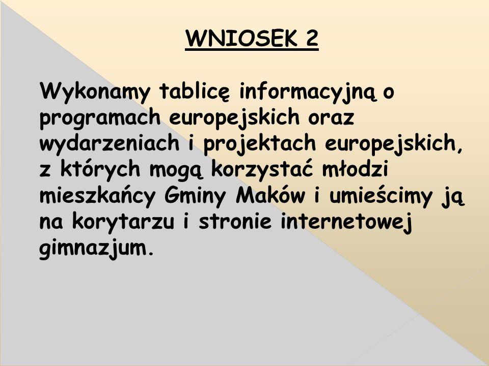 WNIOSEK 2 Wykonamy tablicę informacyjną o programach europejskich oraz wydarzeniach i projektach europejskich, z których mogą korzystać młodzi mieszkańcy Gminy Maków i umieścimy ją na korytarzu i stronie internetowej gimnazjum.