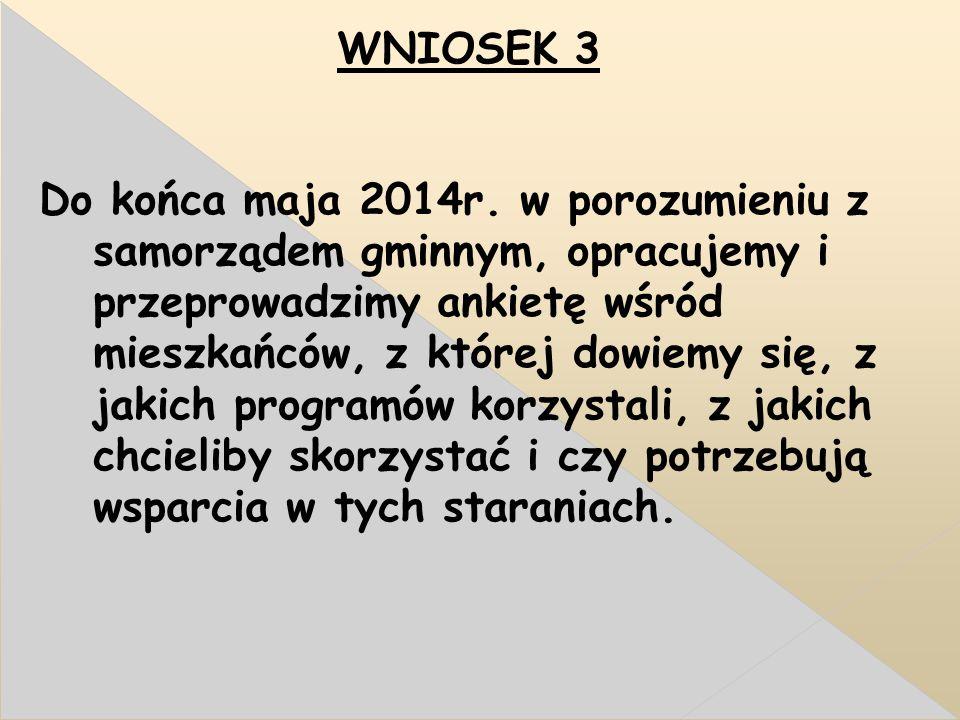 WNIOSEK 3 Do końca maja 2014r.