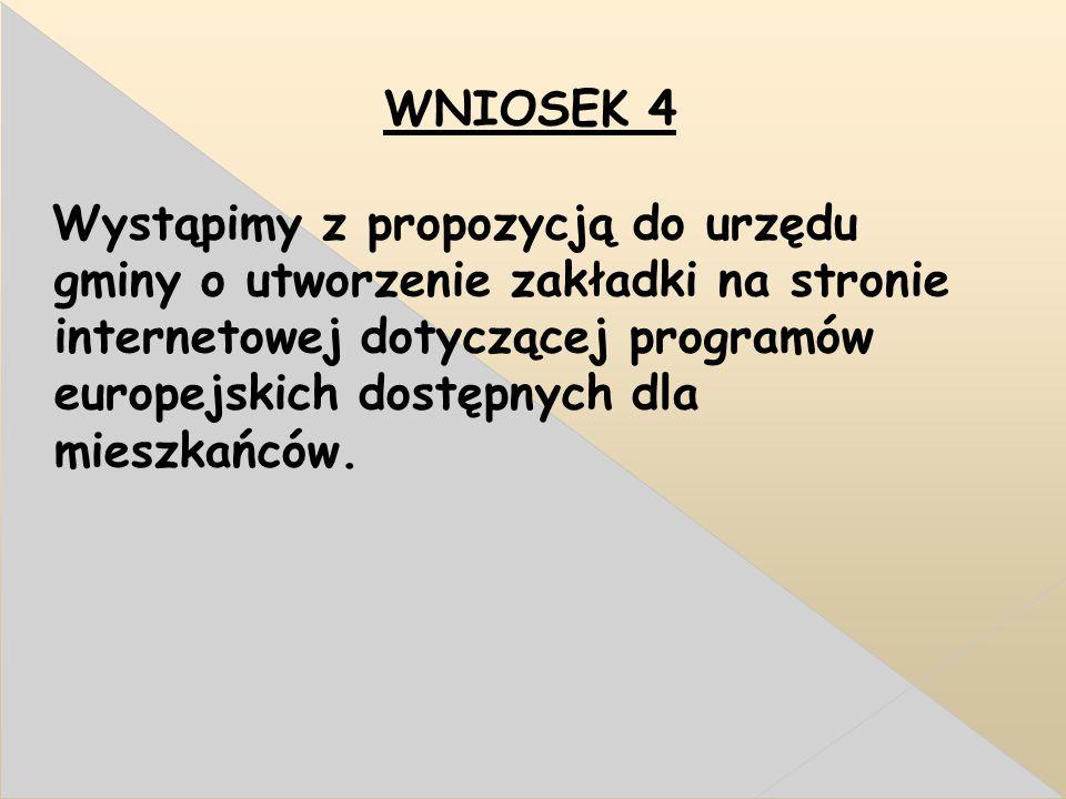 WNIOSEK 4 Wystąpimy z propozycją do urzędu gminy o utworzenie zakładki na stronie internetowej dotyczącej programów europejskich dostępnych dla mieszkańców.