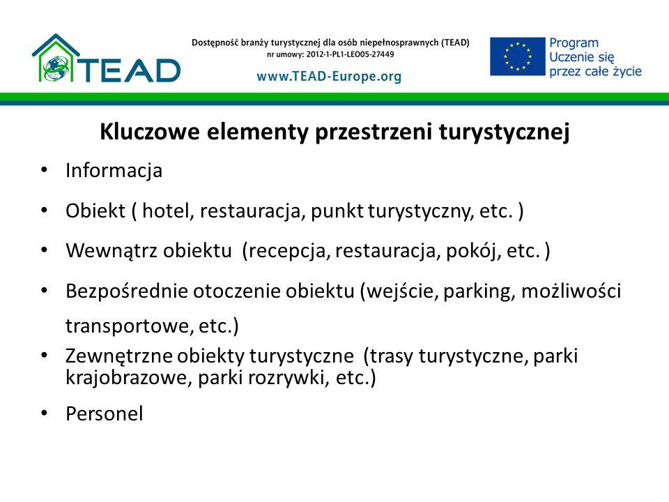 Kluczowe elementy przestrzeni turystycznej Informacja Obiekt ( hotel, restauracja, punkt turystyczny, etc.