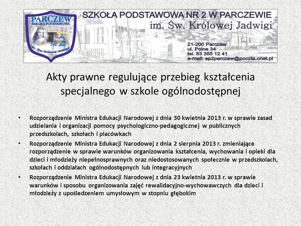 Akty prawne regulujące przebieg kształcenia specjalnego w szkole ogólnodostępnej Rozporządzenie Ministra Edukacji Narodowej z dnia 30 kwietnia 2013 r.
