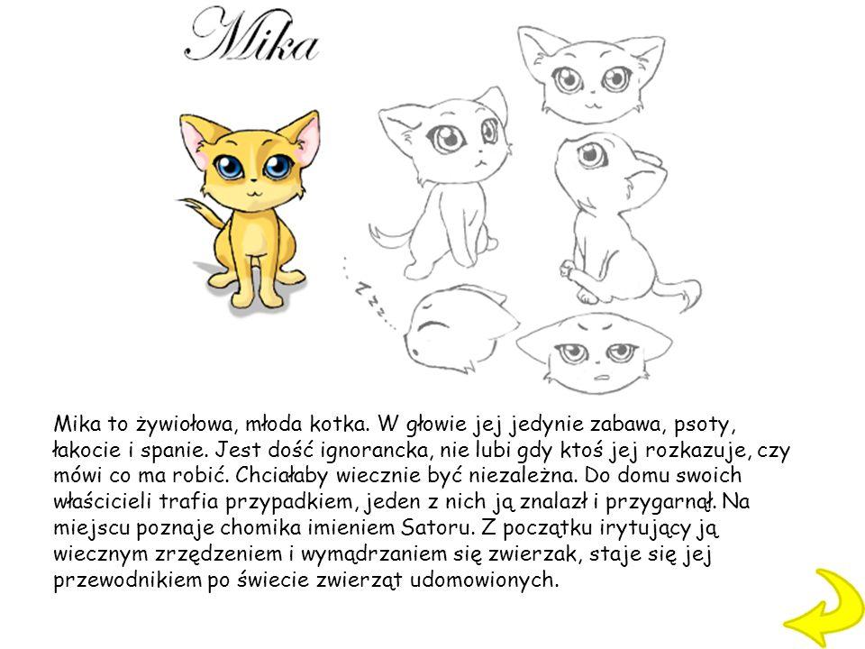 Mika to żywiołowa, młoda kotka. W głowie jej jedynie zabawa, psoty, łakocie i spanie. Jest dość ignorancka, nie lubi gdy ktoś jej rozkazuje, czy mówi