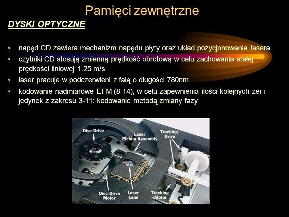 Pamięci zewnętrzne DYSKI OPTYCZNE napęd CD zawiera mechanizm napędu płyty oraz układ pozycjonowania lasera czytniki CD stosują zmienną prędkość obrotową w celu zachowania stałej prędkości liniowej 1.25 m/s laser pracuje w podczerwieni z falą o długości 780nm kodowanie nadmiarowe EFM (8-14), w celu zapewnienia ilości kolejnych zer i jedynek z zakresu 3-11; kodowanie metodą zmiany fazy