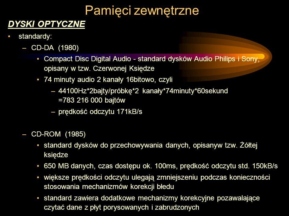Pamięci zewnętrzne DYSKI OPTYCZNE standardy: –CD-DA (1980) Compact Disc Digital Audio - standard dysków Audio Philips i Sony, opisany w tzw.