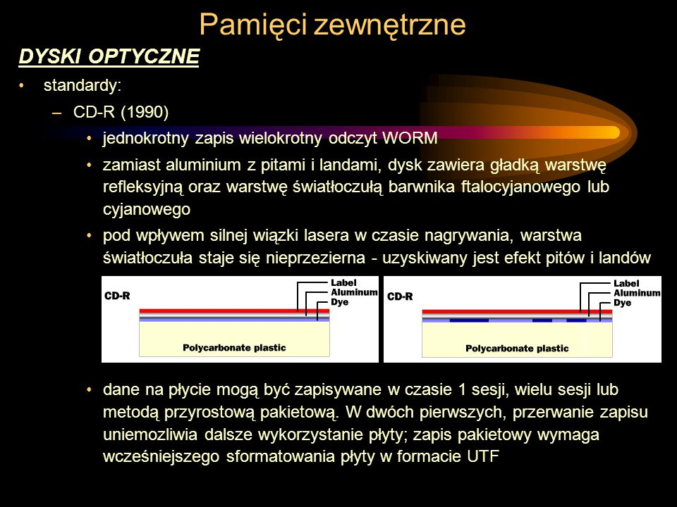 Pamięci zewnętrzne DYSKI OPTYCZNE standardy: –CD-R (1990) jednokrotny zapis wielokrotny odczyt WORM zamiast aluminium z pitami i landami, dysk zawiera gładką warstwę refleksyjną oraz warstwę światłoczułą barwnika ftalocyjanowego lub cyjanowego pod wpływem silnej wiązki lasera w czasie nagrywania, warstwa światłoczuła staje się nieprzezierna - uzyskiwany jest efekt pitów i landów dane na płycie mogą być zapisywane w czasie 1 sesji, wielu sesji lub metodą przyrostową pakietową.