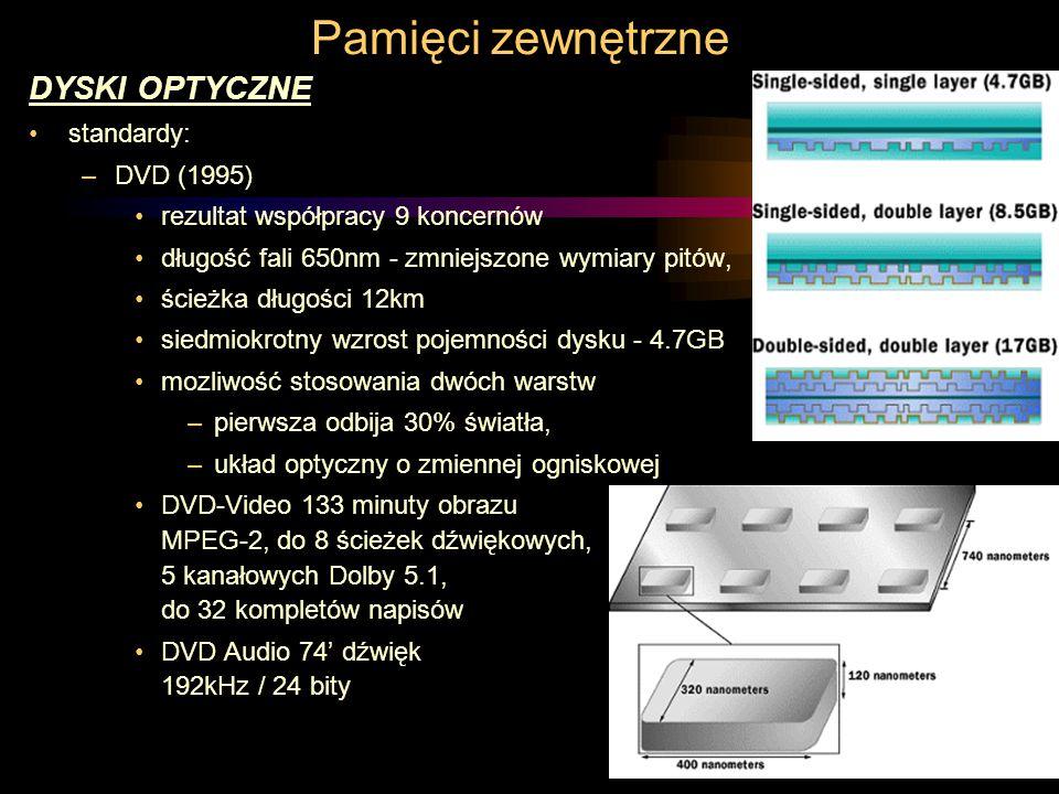Pamięci zewnętrzne DYSKI OPTYCZNE standardy: –DVD (1995) rezultat współpracy 9 koncernów długość fali 650nm - zmniejszone wymiary pitów, ścieżka długości 12km siedmiokrotny wzrost pojemności dysku - 4.7GB mozliwość stosowania dwóch warstw –pierwsza odbija 30% światła, –układ optyczny o zmiennej ogniskowej DVD-Video 133 minuty obrazu MPEG-2, do 8 ścieżek dźwiękowych, 5 kanałowych Dolby 5.1, do 32 kompletów napisów DVD Audio 74' dźwięk 192kHz / 24 bity