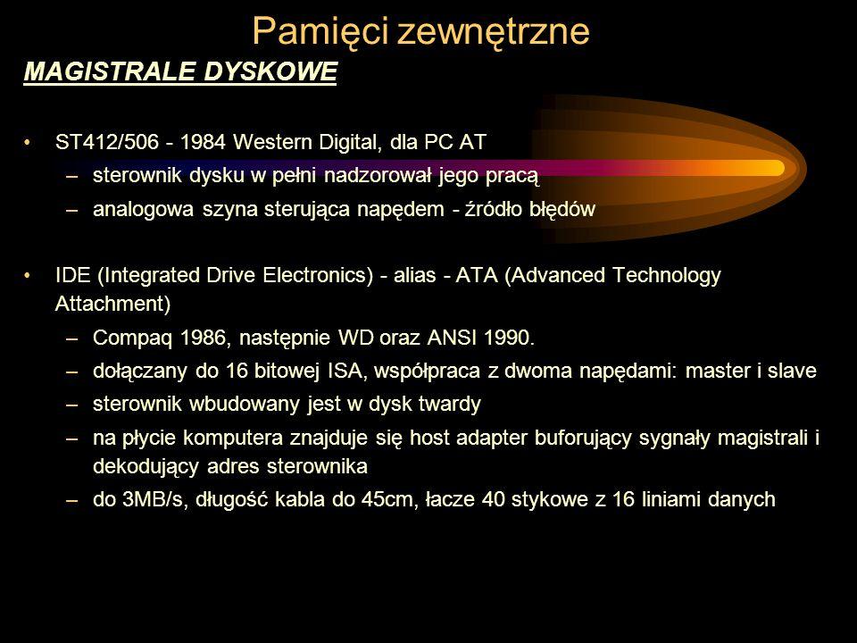 MAGISTRALE DYSKOWE ST412/506 - 1984 Western Digital, dla PC AT –sterownik dysku w pełni nadzorował jego pracą –analogowa szyna sterująca napędem - źródło błędów IDE (Integrated Drive Electronics) - alias - ATA (Advanced Technology Attachment) –Compaq 1986, następnie WD oraz ANSI 1990.