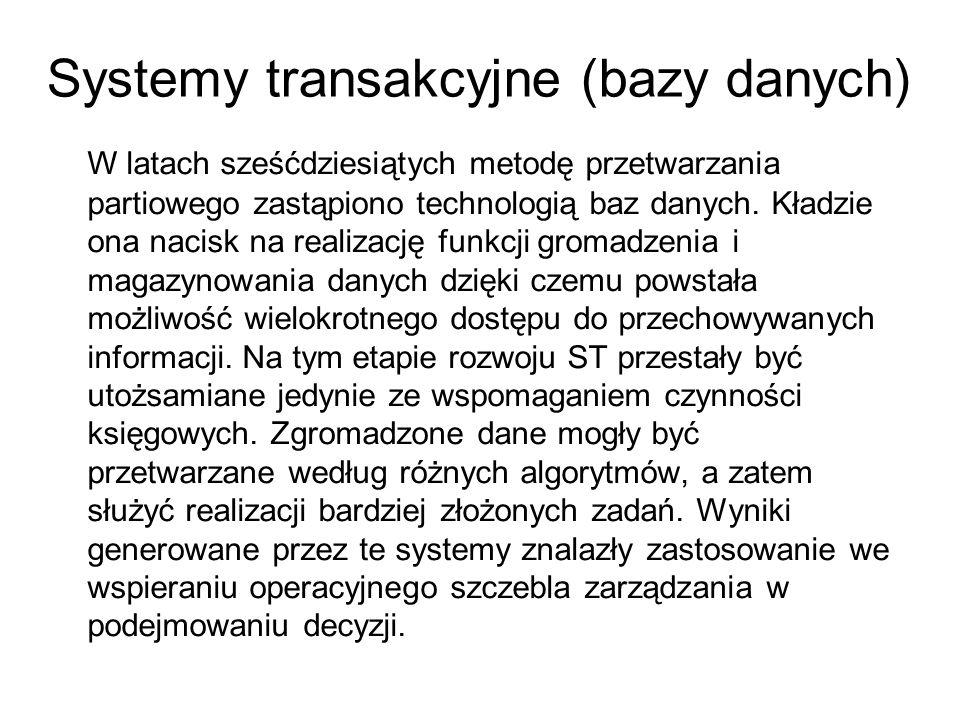 Systemy transakcyjne (bazy danych) W latach sześćdziesiątych metodę przetwarzania partiowego zastąpiono technologią baz danych. Kładzie ona nacisk na