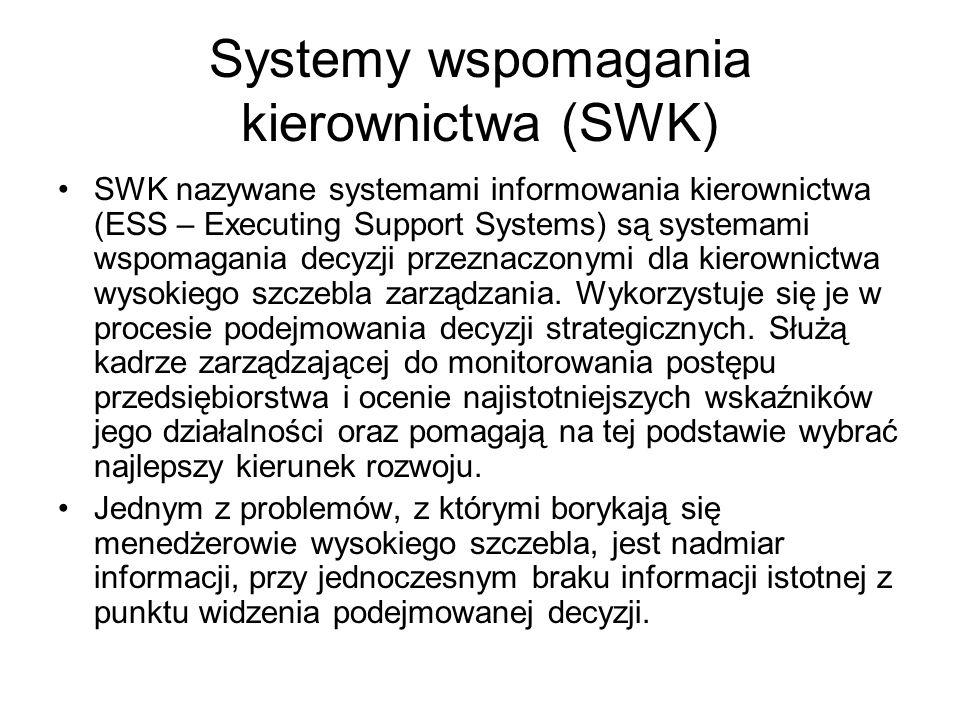 Systemy wspomagania kierownictwa (SWK) SWK nazywane systemami informowania kierownictwa (ESS – Executing Support Systems) są systemami wspomagania dec