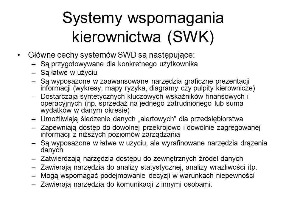 Systemy wspomagania kierownictwa (SWK) Główne cechy systemów SWD są następujące: –Są przygotowywane dla konkretnego użytkownika –Są łatwe w użyciu –Są