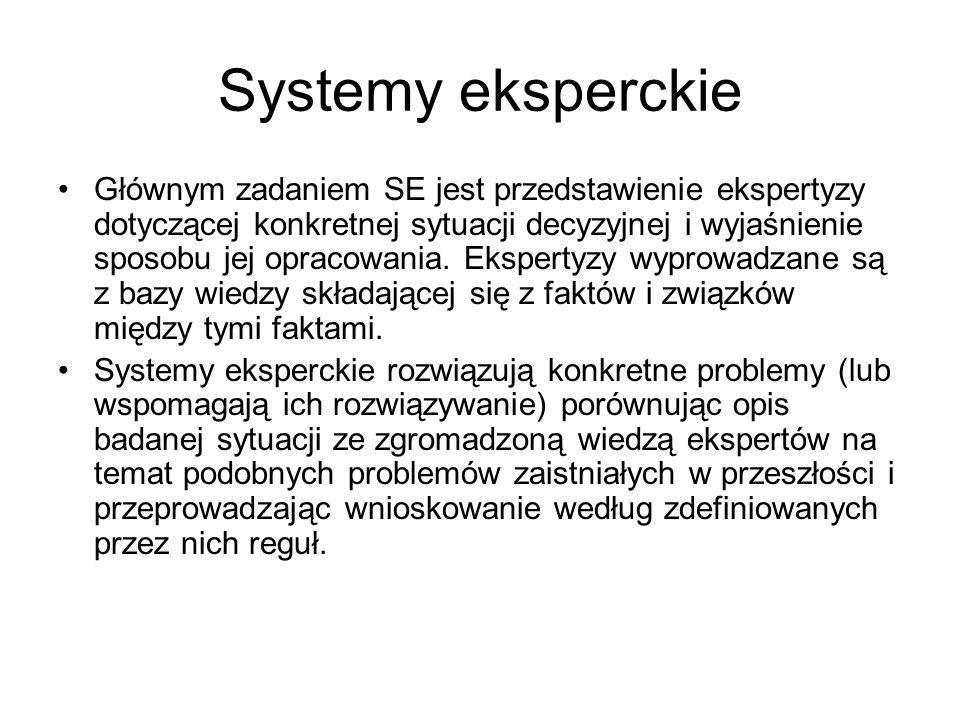 Systemy eksperckie Głównym zadaniem SE jest przedstawienie ekspertyzy dotyczącej konkretnej sytuacji decyzyjnej i wyjaśnienie sposobu jej opracowania.